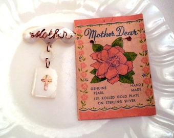 Vintage Mother Dear Brooch Mother of Pearl Gold Filled Wire and Attached Bible Charm