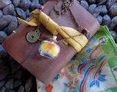 """Glass Bottle Necklace """"Tiki Room"""" Design With Parrot Feathers Inside - Ethically Obtained - OOAK"""