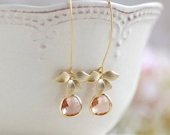 Peach Champagne Earrings Gold Orchid Flower Dangle Earrings Peach Wedding Champagne Wedding Bridal Earrings Bridesmaid Earrings Gift for Her