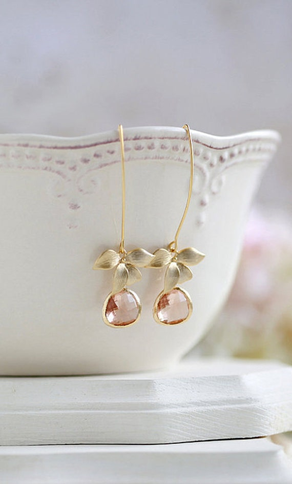 champagne floral drop earrings