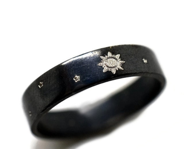 sun and moon ring black engagement band moon and