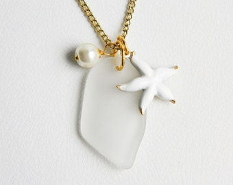 Bridesmaid Necklace - Genuine White Sea Glass Necklace, Vintage Gold Starfish Charms,Glass Pearls - Beach Wedding, Nautical Jewelry