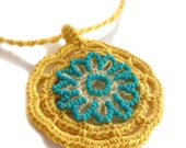 Crochet Necklace Knit Necklace Sun Beaded in Mustard Yellow Gold and Turquoise Teal Glass Beads, One of a Kind, Handmade