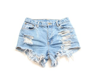 All Sizes Destroyed Ripped Trashy Distress  Daisy Dukes Custom Made High Waist Short Plus Sizes