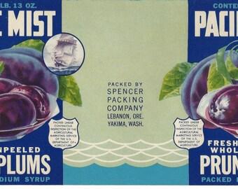 Pacific Mist Prune Plums Vintage Can Label, 1950s