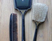 Vintage 20's/30's Black and Gold Art Deco Mirror, Brush and Comb Vanity Set
