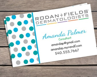 Rodan and fields business card blue and gray polka dots for Rodan and fields business card template