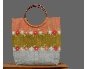 Vintage Tote Handbag Pearl Beaded Floral Embroidered Purse Orange Red Grey Olive Green Striped Color Block Copper Circle Handle Bag