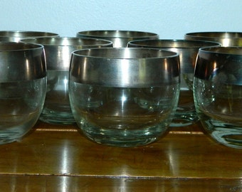 vintage 60s glasses Dorothy Thorpe silver band ROLY POLY tumblers set of 8