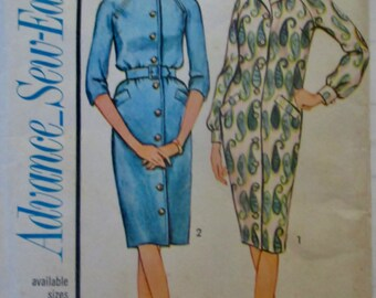 Advance 3368 Sew Easy Women's 60s Shirtwaist Dress Sewing Pattern Size 14 Bust 34