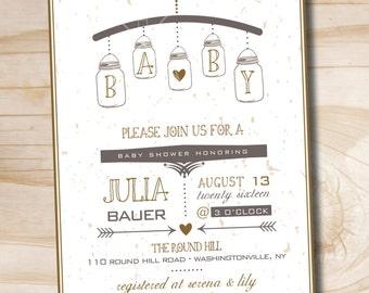 MASON JAR MOBILE Rustic Mason Jar Baby Shower Invitation - Printable Digital file or Printed Invitations