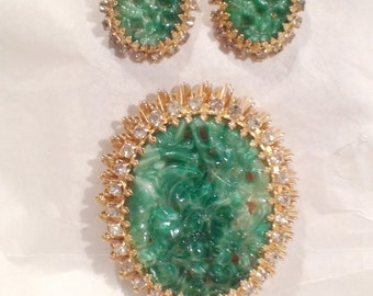 Vintage Jade Peking Glass Brooch Earrings Set Antique Jewelry Rare Beauty