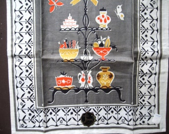 Goody etagere. Lovely vtg linen kitchen towel / MWT / never used unused / gray red yellow / midcentury
