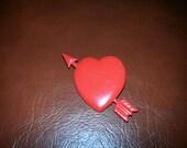 Red Metal Arrow in the Heart Valentine Brooch