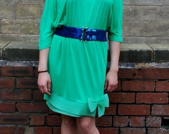 Designer 1980s Vintage La Perla Green T-Shirt Dress Size 10/12/14