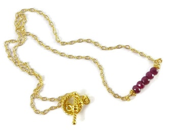 Ruby Necklace, Gold Filled,  Ruby Jewelry, Birthstone Jewelry