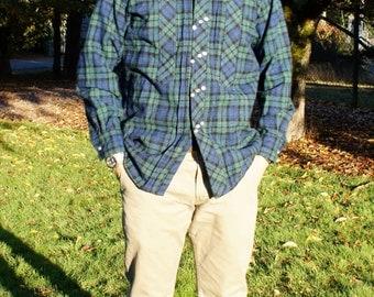1940's Men's Button Dow Flannel Wool Shirt