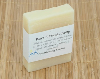 Bare Natural Unscented Cold Process Soap, 4 Ounce Bar
