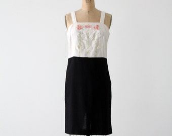 FREE SHIP  1980s linen sundress, vintage black and white pencil dress