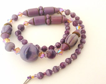 "Vintage Czech Beads Lavender 18"" Necklace - Original Clasp - brass spacers - AB aurora borealis - mauve purple - Swarovski Crystal - brass"