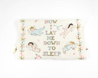 Vintage Towel - Angel Prayer - Now I Lay Me Down to Sleep - Pastel Blue & Pink - Baby Room Linen Wall Hanging Art by Tom Morrow - 1950s