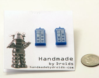 Doctor Who Tardis Post Earrings (Small)