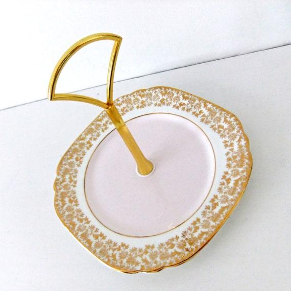Cake plate - china cake stand - mini jewelry stand - soap dish - pastel pink - mini jewellery stand