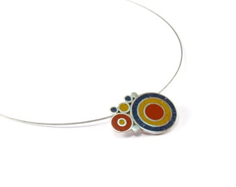 Sterling Silver Pendant, Bubbles, Blue, Maroon, Mustard, Modern, Contemporary, Necklace
