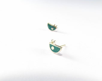 Sterling Silver Earrings, Turquoise, Little Bug, Ear Studs,  Modern, Contemporary, Minimal