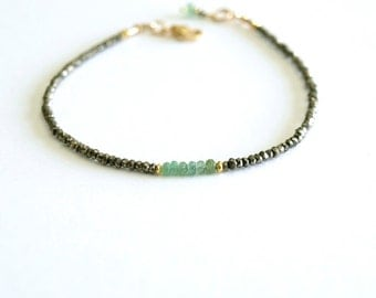 Genuine Emerald Bracelet, small natural emeralds, silver pyrite, tiny beads, 14K goldfilled, precious stones, real Colombian emerald jewelry