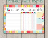 Healthy Habit Excercise Tracker Printable Weekly Organisers Mid Century Pattern