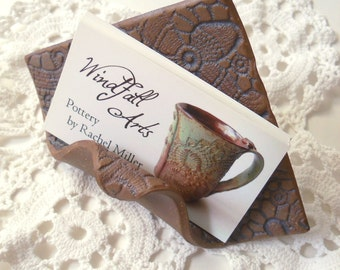 Business Card Holder, Raw Clay with Iron Oxide Wash, Vintage Lace Textured