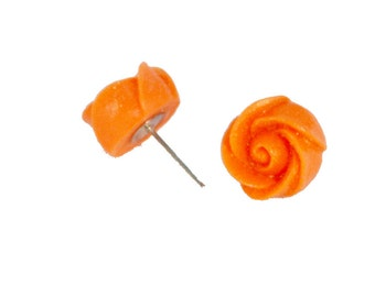 Sparkling Orange Rosebud Earring Posts