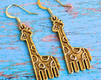 Gold Giraffes . Earrings