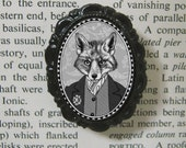 victorian style fox brooch - fox portrait - black and white cameo