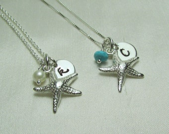 Bridesmaid Gift Set of 6 Starfish Bridesmaid Necklace Personalized Bridesmaids Gifts Bridesmaid Jewelry Initial Necklace Beach Wedding