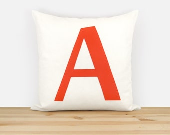 Decorative throw pillow case with letter A in orange and white, 16x16 inches | Monogram cushion cover | Urban modern accent home decor