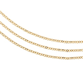 14kt Gold Filled 1x1.3mm Flat Cable Chain Strong and Sturdy - 5ft (2498-5) Small yet strong
