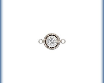 Sterling Silver 4mm Fancy Bezel Connector April CZ - 1pc (6497) High Quality 5% discounted