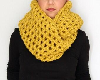 Citron Oversized Chunky Scarf, Mustard Womens Oversized Crochet Chunky Scarf - Womens Accessories Fall Fashion