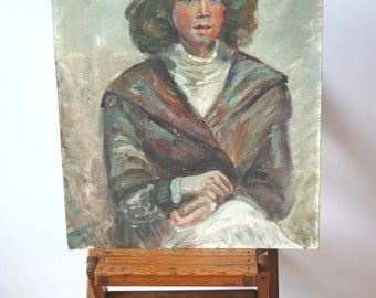 Vintage 1970s Woman: Vintage Oil Portrait Painting