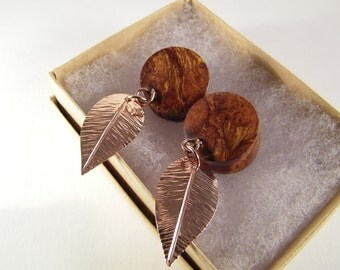 "Wooden Ear Gauges SHIPS IMMEDIATELY Handmade 3/4"" Wood and Copper Plugs"