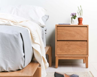 Solid White Oak Hayward Nightstand / Bedside Table - Two Drawers - Available in other woods