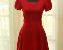 Red - 1960s Retro Vintage Style - Short Sleeve- Scoop neck - Bias cut - Fit & Flare dress in Cotton Woven - Custom Sizing Available - ORT103