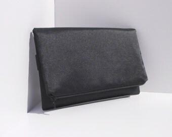 Simple But Elegant BackStrap Clutch in Black Satin
