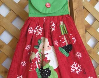 Santa Claus Kitchen Tea Towel Christmas Hanging Kitchen Dish Towel Santa Kitchen Towel SnowNoseCrafts