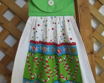 Peppermint Candy Cane Kitchen Tea Towel LAST ONES Christmas Hanging Kitchen Dish Towel with Candy Theme SnowNoseCrafts