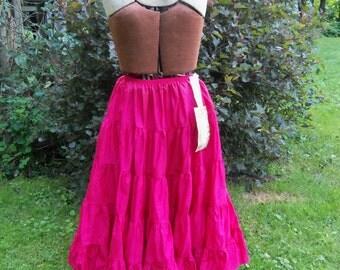 Vintage NOS Red Ruffled Satin Circle Skirt Slip