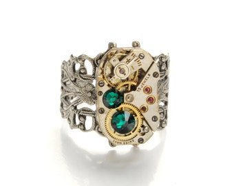 Steampunk Ring MAY EMERALD GREEN Birthstone Ring Steampunk Vintage Watch Ring Antique Silver Ring Steampunk Jewelry By Victorian Curiosities