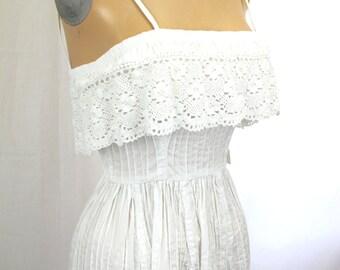 1970s White Cotton Crochet Sun Dress